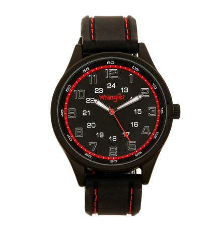 Wrangler Watch - 48 MM, Black Case, Black Dial, Black Strap, 33 Feet Water Resistant, Japanese Movement - WRT1300-1A