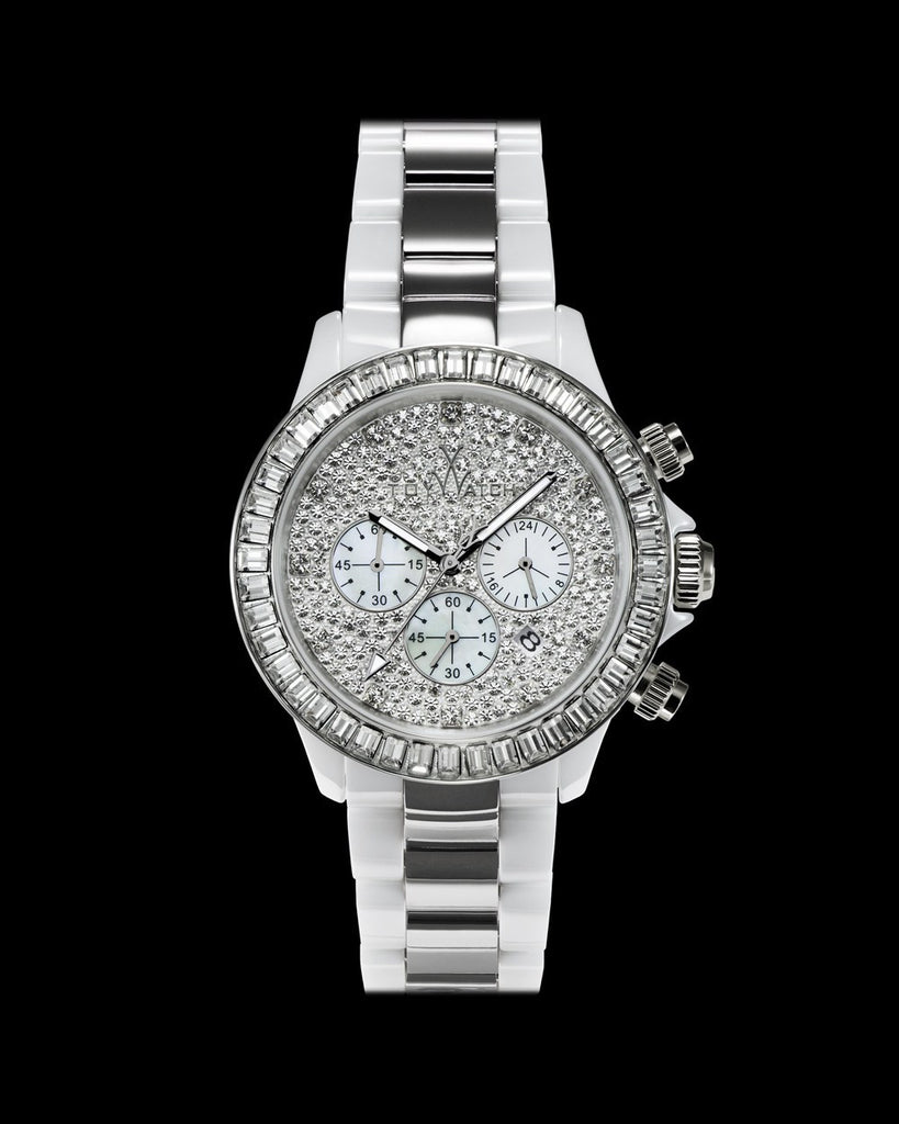 HEAVY METAL CERAMIC WHITE WITH STONES - ToyWatch