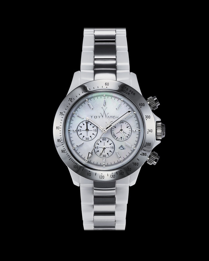 HEAVY METAL CERAMIC WHITE AND SILVER - ToyWatch