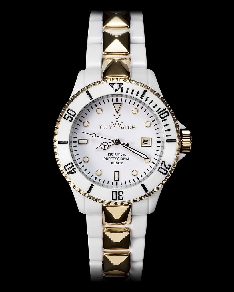 TOY MR HYDE WHITE AND BLACK WITH GOLD STUD - ToyWatch