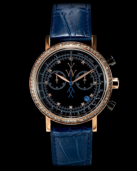 MAYA CHRONO BLACK AND BLUE WITH SWAROVSKI ELEMENTS - ToyWatch
