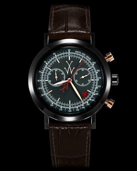 MAYA CHRONOGRAPH GUN METAL AND RED - ToyWatch
