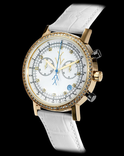 MAYA CHRONOGRAPH WHITE AND BLUE WITH SWAROVSKI ELEMENTS - ToyWatch
