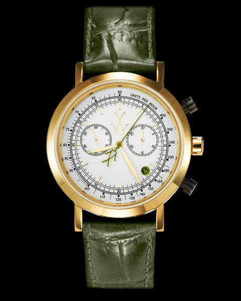 MAYA CHRONOGRAPH WHITE AND HUNTER GREEN - ToyWatch