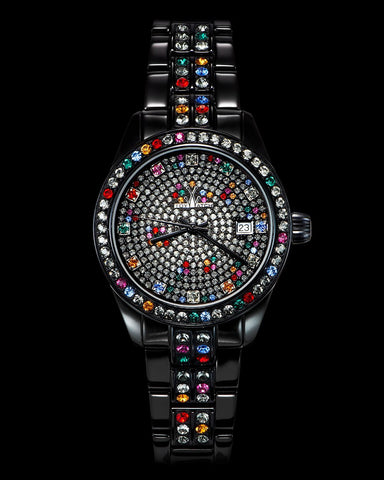 METALLIC STONES BLACK PAVE DIAL MULTICOLOR - ToyWatch