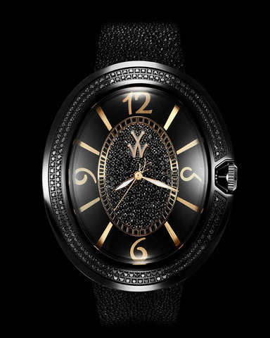 MONNALISA BLACK DIAL AND YELLOW GOLD WITH DIAMONDS - ToyWatch