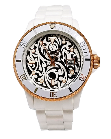 Toy Tribal Collection Yin Yang Tattoo Watch White/Rose Gold Dial Ladies