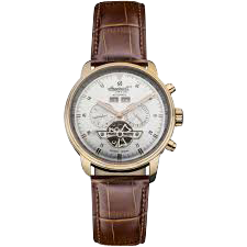 Men's Okies Stainless Steel Automatic Watch with Brown Genuine Leather Band