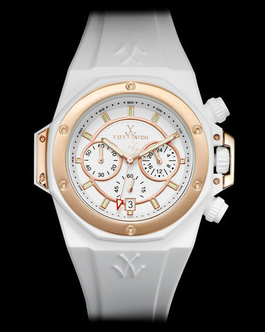 TOYSTRONG CHRONO WHITE AND ROSE GOLD - ToyWatch