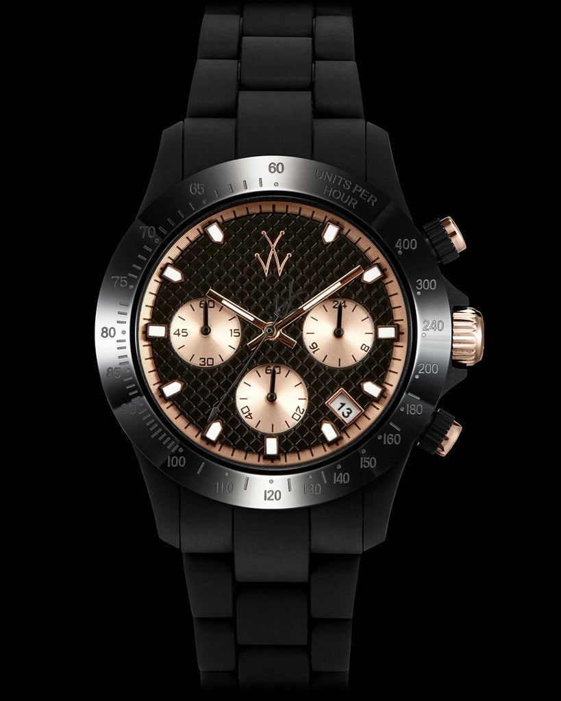VELVETY CHRONO BLACK AND PINK GOLD - ToyWatch