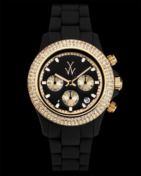 VELVETY CHRONO BLACK AND YELLOW GOLD WITH STONES - ToyWatch