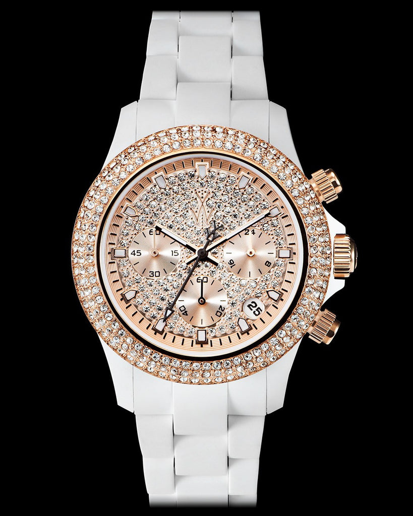 VELVETY CHRONO WHITE AND PINK GOLD WITH STONES - ToyWatch
