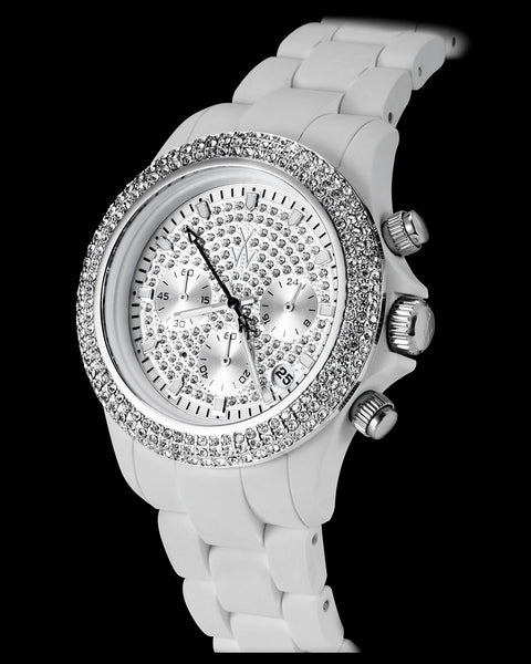 VELVETY CHRONO WHITE AND SILVER WITH STONES - ToyWatch