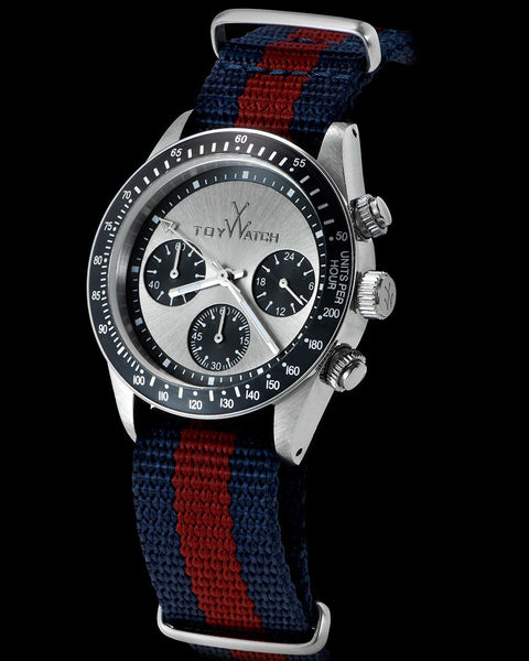 VINTAGE CHRONO DARK BLUE AND BORDEAUX STRAP - ToyWatch
