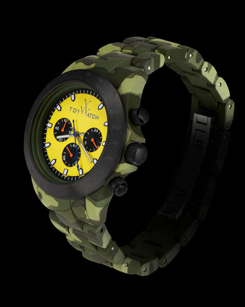 VELVETY CHRONO CAMOUFLAGE AND YELLOW - ToyWatch
