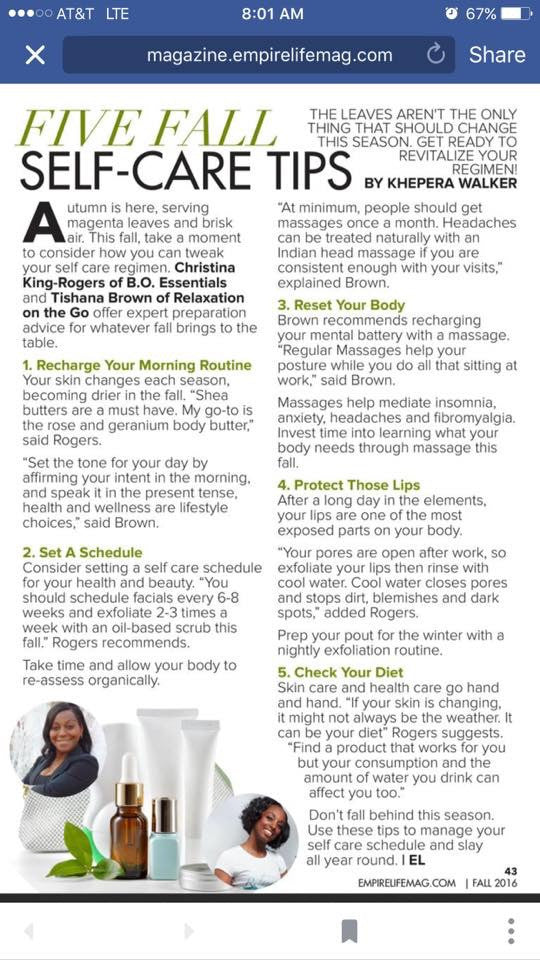 """Five Fall Favs Self Care Tips """