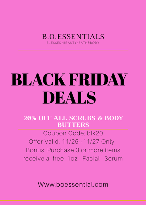 "B.O.Essentials ""2016 Black Friday Deals"""