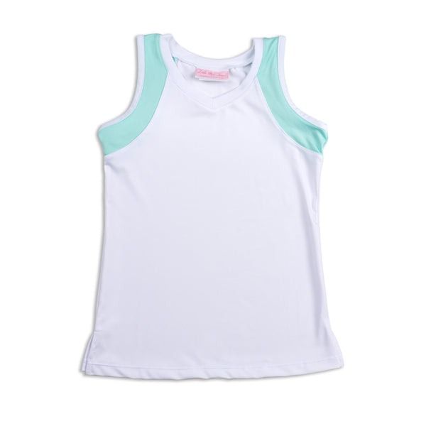Everyday Club Tank Blue Trim 3/4, 4/5, 5/6, XL - Little Miss Tennis