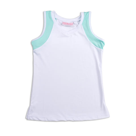 Everyday Club Tank Blue Trim - Little Miss Tennis