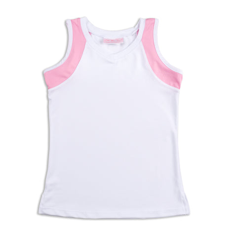 Everyday Club Tank Pink Trim - Little Miss Tennis