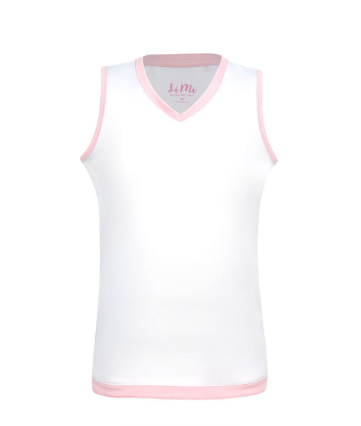 #Cotton Candy Tank White - Little Miss Tennis