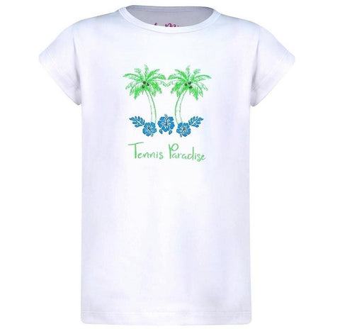 #Paradise Palms White 'Tennis Paradise' Top - New! - Little Miss Tennis
