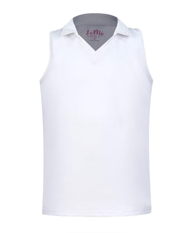 #Santorini White Collar Tank - Little Miss Tennis