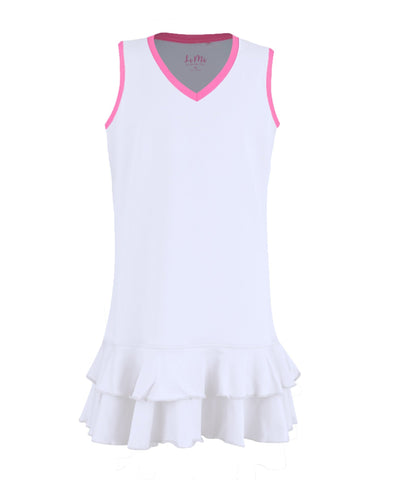 #Midnight in Malibu Dress White - MD, LG - Little Miss Tennis
