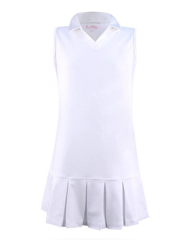 #Chamonix White Polo Pleat Dress - New! - Little Miss Tennis