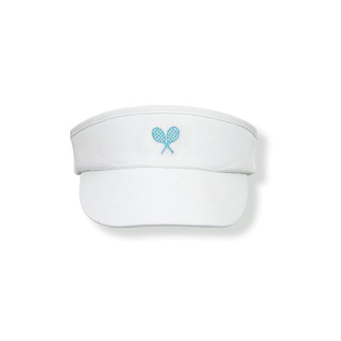 White Visor (Turquoise) - Little Miss Tennis