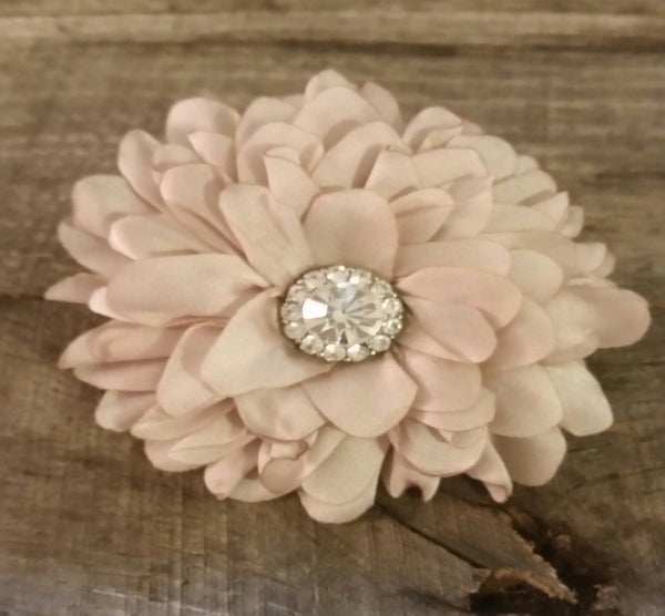 Hair Clip - Taupe Flower