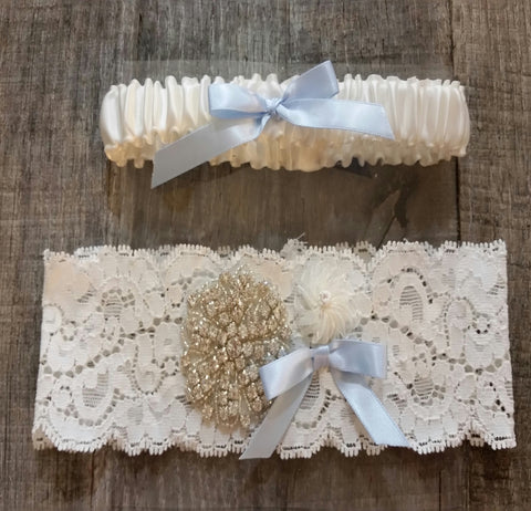 Garter Set - Ivory & Blue Bow