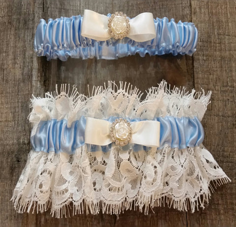 Garter Set - White and Blue Lace