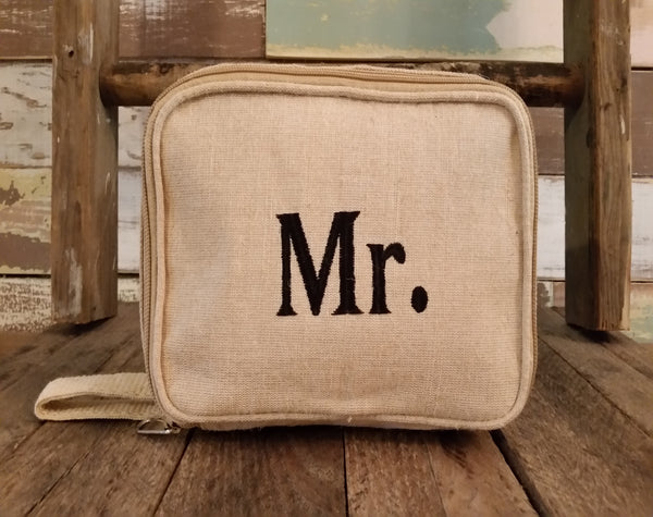 Burlap Cosmetic Bag - Travel Size