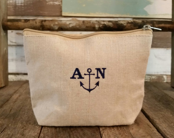 Burlap Cosmetic Pouch - Small