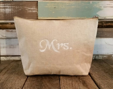 Burlap Cosmetic Pouch - Large
