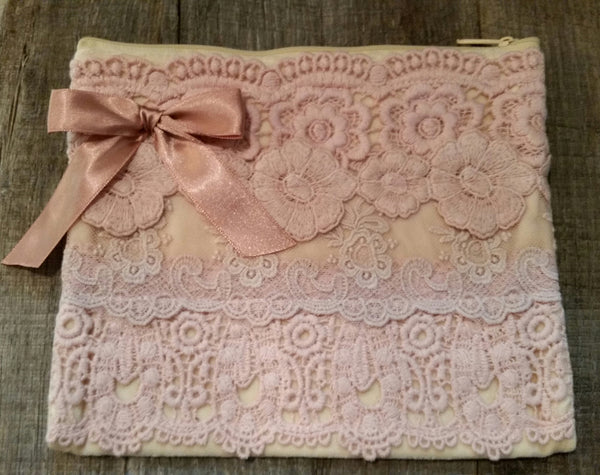 Cosmetic Bag - Vintage Rose Lace