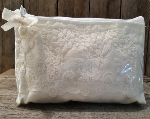 Cosmetic Bag - Ivory Lace & Satin