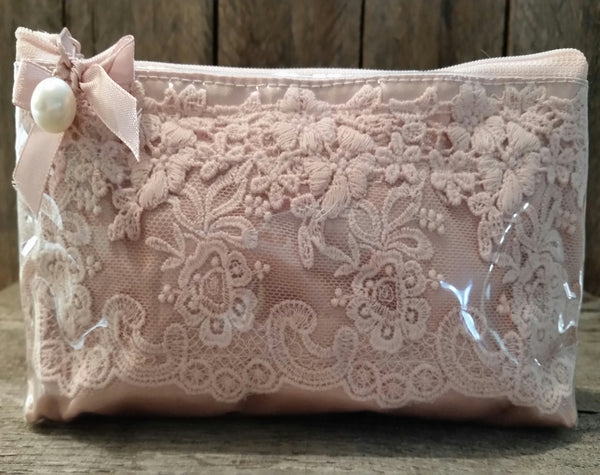 Cosmetic Bag - Rose Lace & Satin