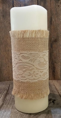Candle Wrap - Burlap & Lace