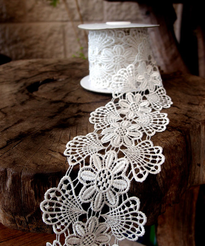 Lace - Ivory & Floral Embroidery, Cotton