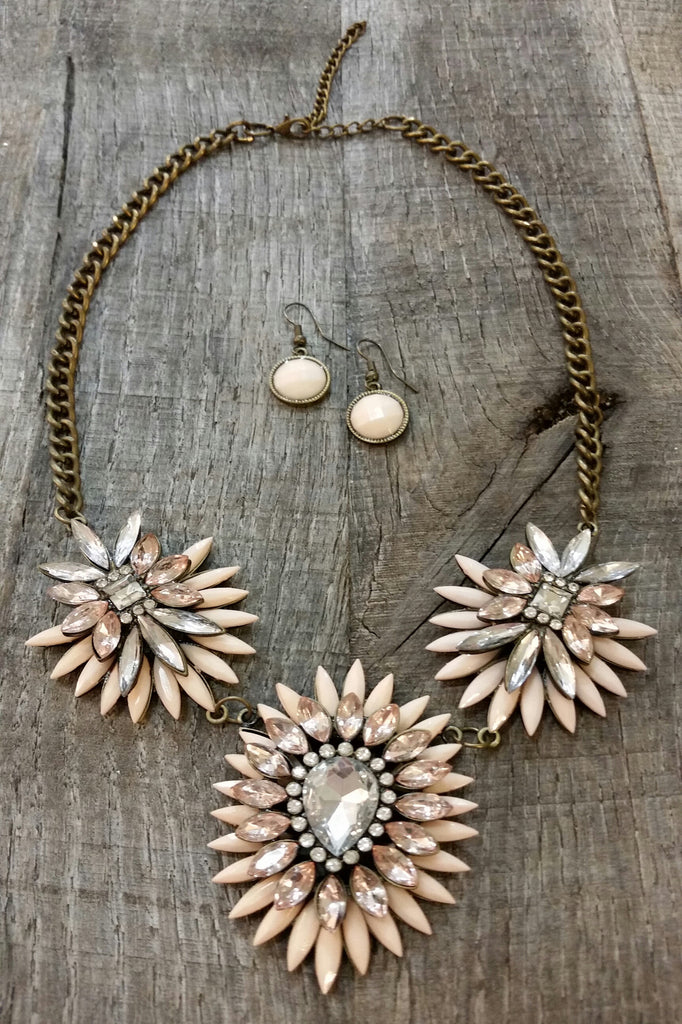 Necklace & Earring Set - Peach