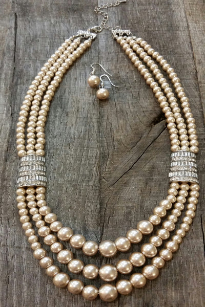 Necklace & Earring Set - Champagne Pearls