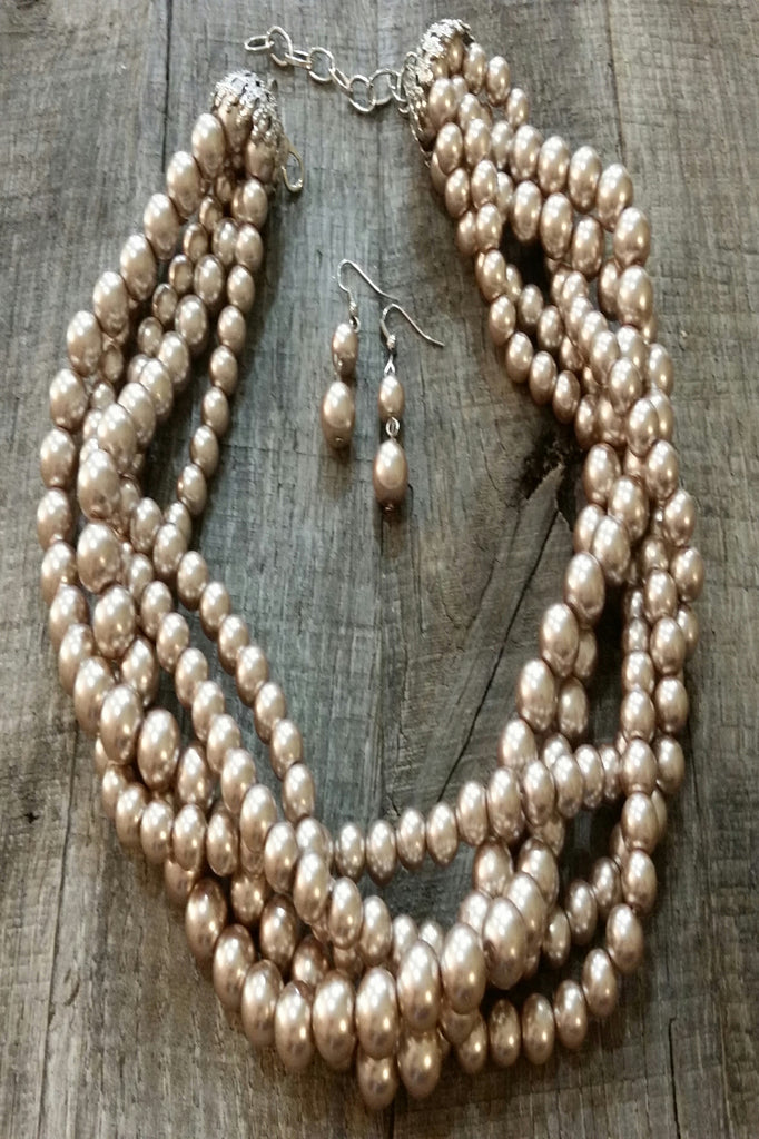 Necklace & Earring Set - Braided Champagne Pearl