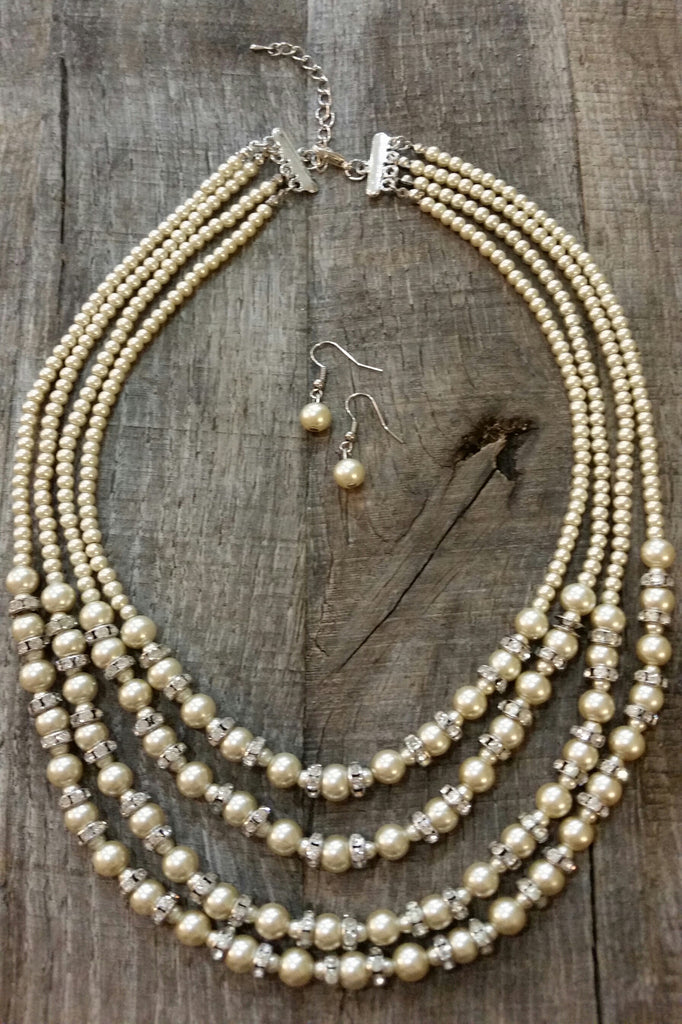 Necklace & Earring Set - Layered Champagne Pearl