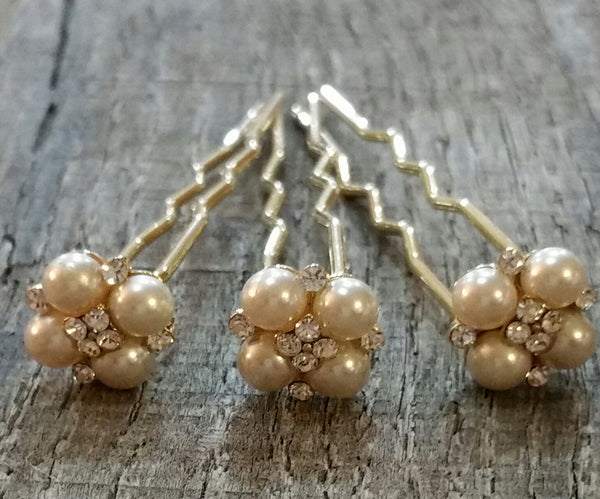Hairpins - Gold Pearls