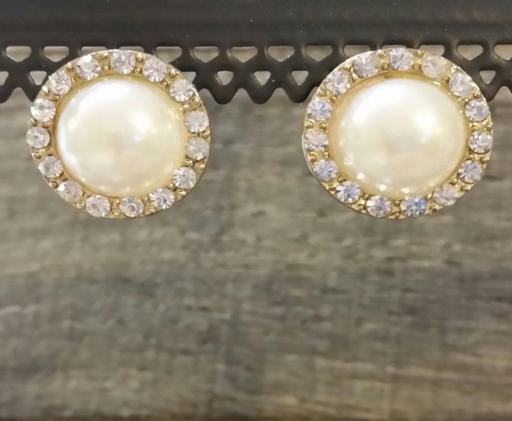 Earrings - Large Pearl & Rhinestone