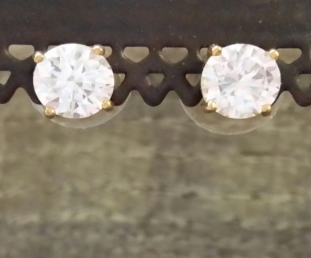 Cubic Zirconia Studs - Gold Post