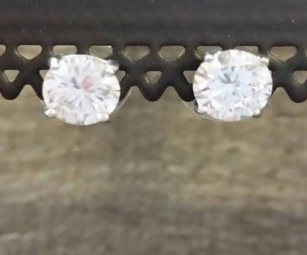 Cubic Zirconia Studs - Silver Post