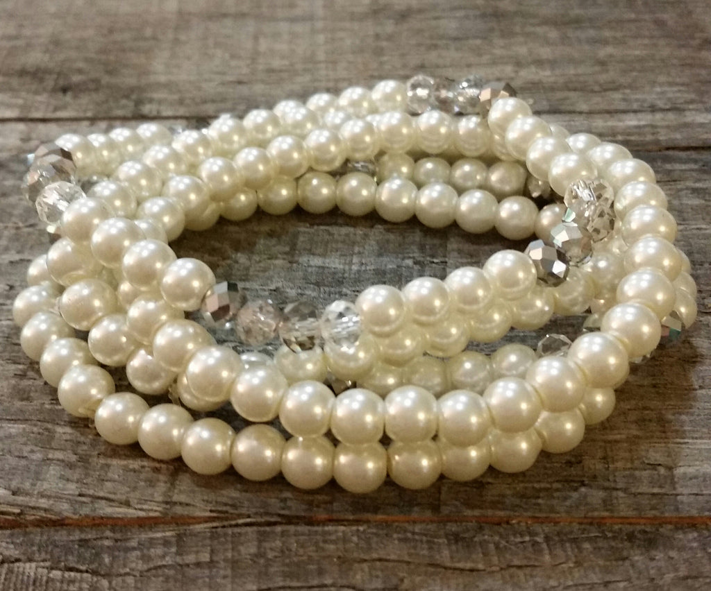 Bracelet Set - Crystal Accented Pearl